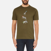 PS by Paul Smith Men's Crew Neck Short Sleeve Animal Logo T-Shirt - Khaki