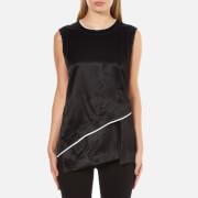 DKNY Womens Sleeveless Layered Shirt with Asymmetrical Hem and Raw Edge Detail  BlackChalk  LUK 10