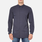 Helmut Lang Men's Canvas Long Sleeve Shirt - Peacoat Blue
