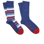 Levi's Men's 168Sf Regular Cut Stripe 2 Pack Socks - Blue