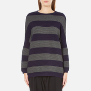 Paisie Women's Ribbed Jumper with Stripes - Navy/Grey