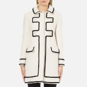 Boutique Moschino Women's Long Contrast Lightweight Coat - White