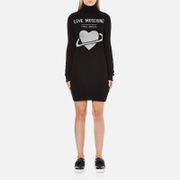 Love Moschino Women's Polo Neck Heart Jumper Dress - Black