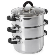 Tower T80836 Tower Essentials 18cm 3 Tier Steamer - Stainless Steel