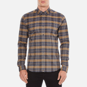 Pretty Green Men's Rennie Long Sleeve Check Shirt - Navy