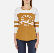 Superdry Women's Football Slub Top - Mustard/Mountain White
