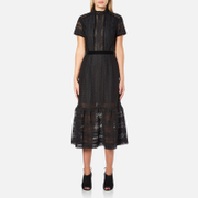 Perseverance Women's Cable Lace Midi Dress with High Neck and Ribbon Details - Black