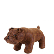 Faux Leather British Bulldog Footstool - Brown