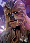 Star Wars Chewbacca Inspired Illustrative Fine Art Print - 16.5 x 11.7