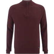 Threadbare Men's Annakin Quarter Zip Funnel Neck Knitted Jumper - Burgundy Marl