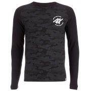 Jack & Jones Men's Core Frank Camo Long Sleeve Top - Black