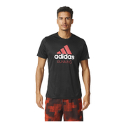 adidas Men's Performance Essentials Running T-Shirt - Black/Red - L