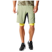 adidas Men's A2G Two-in-One Training Shorts - Green - L