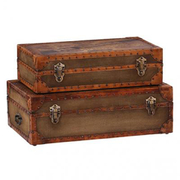 Leather Canvas Pan Am Trunk Set Of 2