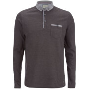Brave Soul Men's Hera Long Sleeve Polo Shirt - Charcoal