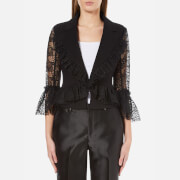Three Floor Women's Cristobel Slim Fit Tailored Style Lace Sleeve Jacket - Black