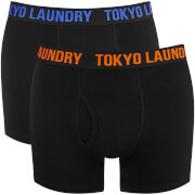 Tokyo Laundry Men's Dovehouse 2 Pack Boxers - Black/Orange/Blue
