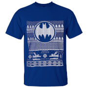 DC Comics Men's Batman Fairisle Christmas T-Shirt - Blue