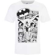 DC Comics Men's Batman Comic Strip T-Shirt - White