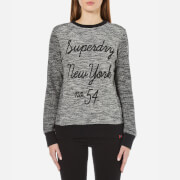 Superdry Women's Embroidered Cut and Sew Crew Neck Sweatshirt - Black/White