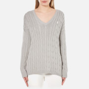 Polo Ralph Lauren Womens V Neck Side Slit Jumper  Oxford Grey  S