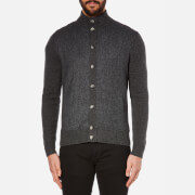 Hackett London Men's Tweed Front Cardigan - Charcoal - S
