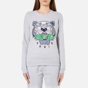 KENZO Women's Embroidered Tiger On Light Cotton Molleton Sweatshirt - Light Grey