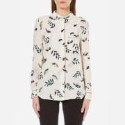 Ganni Women's Rosemont Crepe Printed Shirt - Vanilla Hemlock