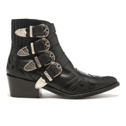 Toga Pulla Womens Buckle Side Mix Leather Heeled Ankle Boots  Black  UK 3EU 36
