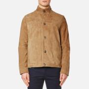 Michael Kors Men's Leather Harrington Jacket - Khaki