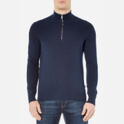 Michael Kors Men's Honeycomb Half Zip Mock Neck Knitted Jumper - Midnight
