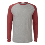 Jack & Jones Men's Originals Stan Raglan Long Sleeve Top - Light Grey/Rosewood