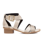 Clarks Women's Sandcastle Ray Leather Strappy Sandals - Champagne Metallic