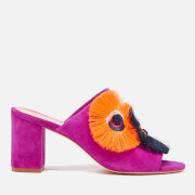 Loeffler Randall Women's Clo Floral Embroidered Suede Heeled Sandals - Azalea