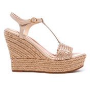 UGG Women's Fitchie II T-Strap Jute Wedged Espadrille Sandals - Soft Gold