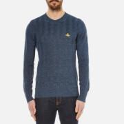 Vivienne Westwood MAN Mens Linen Crew Neck Knitted Jumper  Blue Melange  S