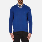 Tommy Hilfiger Men's Prime Cotton V-Neck Knitted Jumper - Sodalite Blue
