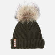 BKLYN Women's Merino Wool Hat with Natural Pom Pom - Army Green