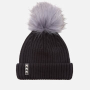 BKLYN Women's Merino Wool Hat with Dark Grey Pom Pom - Black