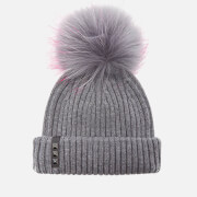 BKLYN Women's Merino Wool Hat with Grey/Pink Pom Pom - Mid Grey