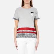 Karl Lagerfeld Women's Stripe Boucle Sweatshirt - Grey