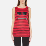 Karl Lagerfeld Womens Striped Linen Tank Top  Red  XS