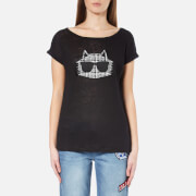 Karl Lagerfeld Women's Boucle Choupette Linen T-Shirt - Black