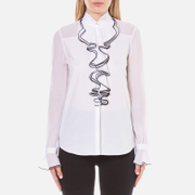 Karl Lagerfeld Women's Sheer/Solid Ruffle Blouse - White