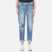 Karl Lagerfeld Women's Karl Jets Patch Denim Jeans - Blue