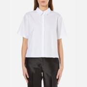 T by Alexander Wang Women's Lightweight Cotton Poplin Short Sleeve Shirt - White