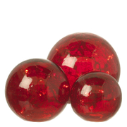 Parlane Glass Crackle Ball Lights - Red (Set of 3)