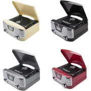 GPO Retro Memphis Turntable 4-in-1 Music System with Built in CD and FM Radio
