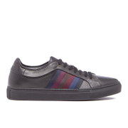 PS by Paul Smith Men's Ivo Leather Court Trainers - Black Classic Calf/Stripe Webbing