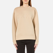 DKNY Womens Long Sleeve Pullover with Front Logo  Nude  S